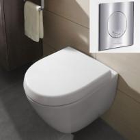 Seinä-WC -paketti Subway 2.0 Compact Ceramicplus, täydellinen, V&B -kromipainike