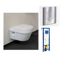 Seinä-WC -paketti Omnia DirectFlush, V&B -kromipainike