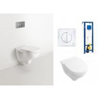 Seinä WC-istuinpaketti O. Novo 5660, täydellinen toimitus, kromattu huuhtelupainike