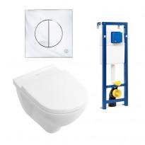Seinä-WC -paketti O.novo, kromipainike, Ceramicplus