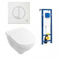 Seinä-WC -paketti O.novo, valkoinen painike, Ceramicplus