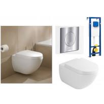 Seinä WC-istuinpaketti Subway 6600 Ceramicplus, täydellinen toimitus, krominen V&B huuhtelupainike