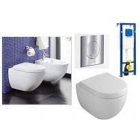 Seinä WC-istuinpaketti Subway 6604 Compact Ceramicplus, täydellinen toimitus, krominen V&B huuhtelupainike