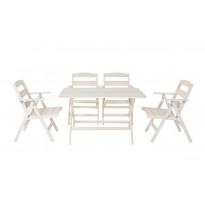 Ruokailuryhmä Nadja, pöytä ja 4 tuolia, valkoinen