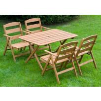 Ruokailuryhmä Nadja, pöytä ja 4 tuolia, ruskea