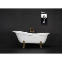 Kylpyamme Victoria 157, 215l, 1570x760mm, valkoinen, kromiset jalat