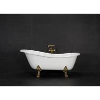 Kylpyamme Victoria 167, 230l, 1670x750mm, valkoinen, antiikkimessinkiset jalat
