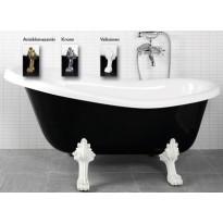 Kylpyamme Victoria 167, 230l, 1670x750mm, musta/valkoinen, eri jalkavaihtoehtoja WTB2000070X