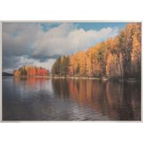 Akustiikkataulu Yeseco Still T, 80x60cm, valkoiset puukehykset, Sumuinen ranta, Verkkokaupan poistotuote
